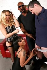 Black cock destroys white and black pussy while a cuckold watches