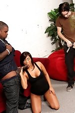 Skater boy looks on as his girlfriend cheats on him with a massive black cock